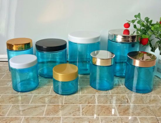 Hot Sell 4oz 6oz 10oz 16oz 22oz Greem Color Empty Glass Straight Jar with Plastic Lid pictures & photos