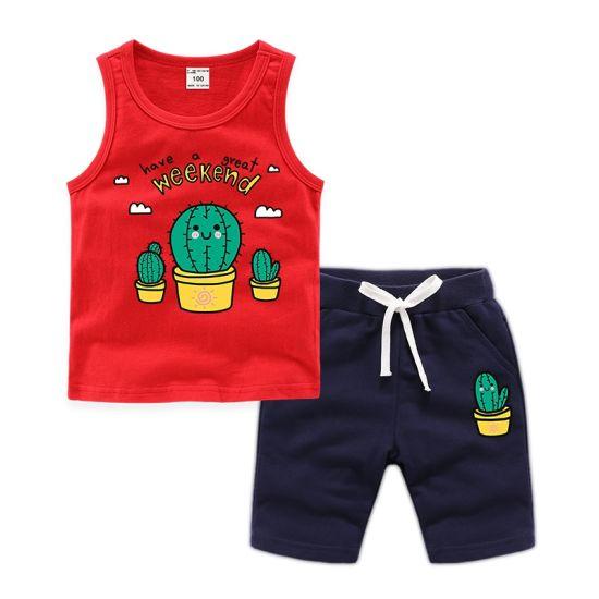 Cactus Print Loose Cotton Kids Costume Vest Set Children's Apparel