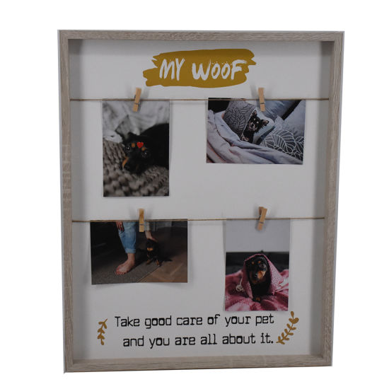 Wooden Natural Color Wall Chicken Wire Photo Frame with Clothespin Clips pictures & photos