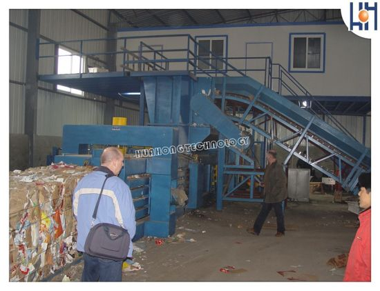 Hydraulic Horizontal Full Automatic Waste Paper Cardboard Plastic Baler for Recycling Hpa-125