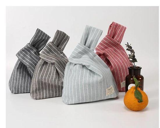 Vertical Stripes Wristlets Bags Cotton Handbags Mini Tote