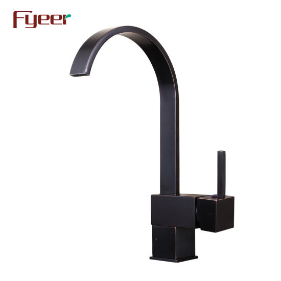 Fyeer Black Waterfall Brass Kitchen Faucet