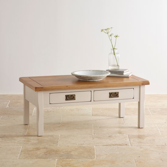 China Rustic White Painted Oak Solid