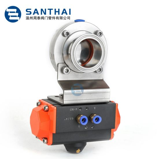 SS304/SS316 Sanitary Stainless Steel Auto Electric Butterfly Valve Pneumatic Valve of Hygienic Grade for Food/Beverage/Chemical Making