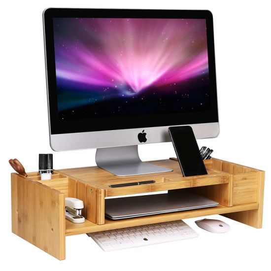 Monitor Stand Riser with Drawers Desktop Laptop Stand with Keyboard Storage wood