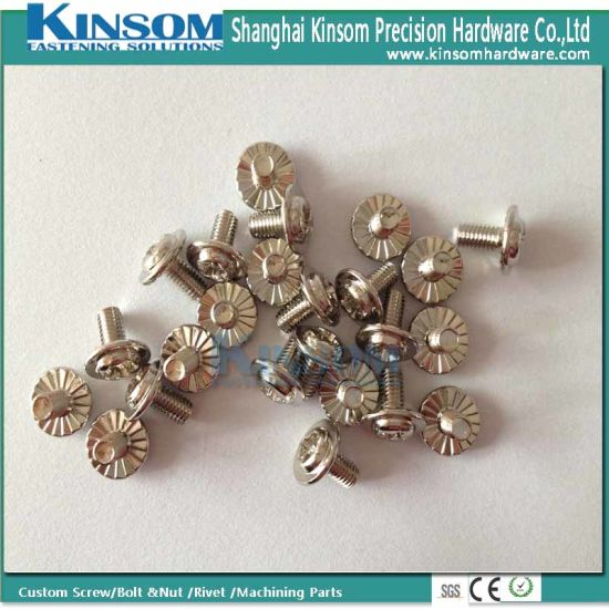 Pan Phillips Flange Head Screw with M3*6 Knulred Nickel Coating pictures & photos