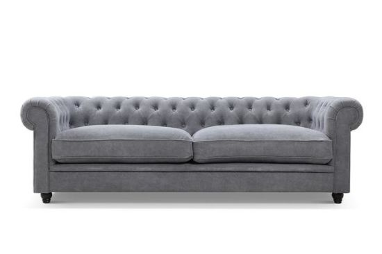 White Royal Light Chesterfield Velvet Fabric Modern Sofa