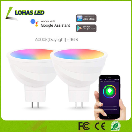 Alexa/Google Home/Tuya APP Controlled Smart Light Bulb MR16 5W WiFi RGB LED Spotlight Bulb pictures & photos