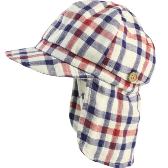32d31025 Check Gingham Summer Beach Swim Sun Protection Neck Shade Flap Hat Cap for  Toddler Kids