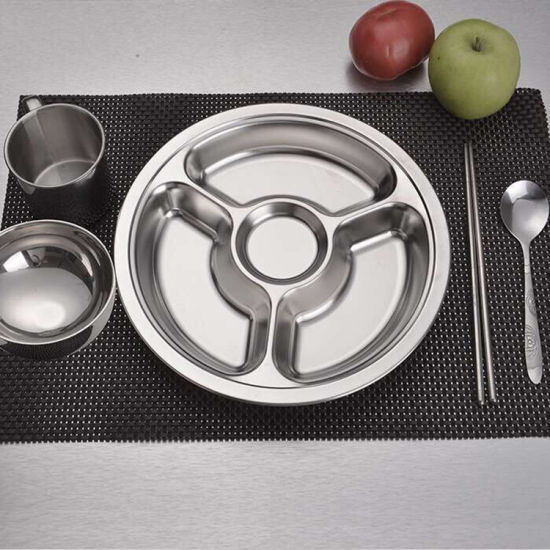 201 Stainless Steel Round Shape Food Tray /School Deep Dinner Plates & China 201 Stainless Steel Round Shape Food Tray /School Deep Dinner ...