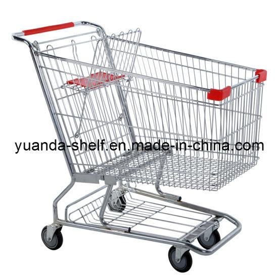 Chrome Supermakret Shopping Folding Metal Trolley Cart