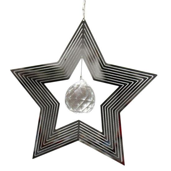 8 Inch Decorative Star Craft Whirligig 3D Stainless Steel Metal Wind Spinner