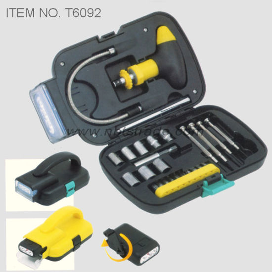 Hand Tool Box with Dynamo LED Flashlight (T6092) pictures & photos