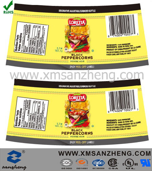 Full Color Printing Food Permanent Water Resistant Clear CSA Approved Labels