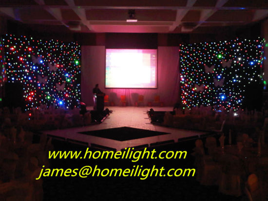 Double Decker Fireproof Velvet 4*6m RGB Light Star Curtain LED Star Curtains Outdoor LED Curtain pictures & photos