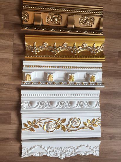 Polyurethane Cornice Moulding Crown Moldings Gold PU Cornice for Decoration