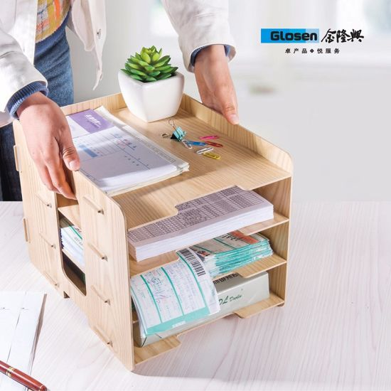 Wooden Diy 6 Trays Desktop Document Letter Tray Organizer File Rack