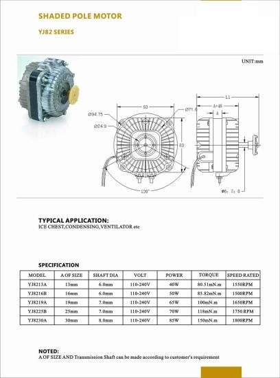 China Yj82 Shaded Pole Motor For Freezer With Ce China Micro Motor