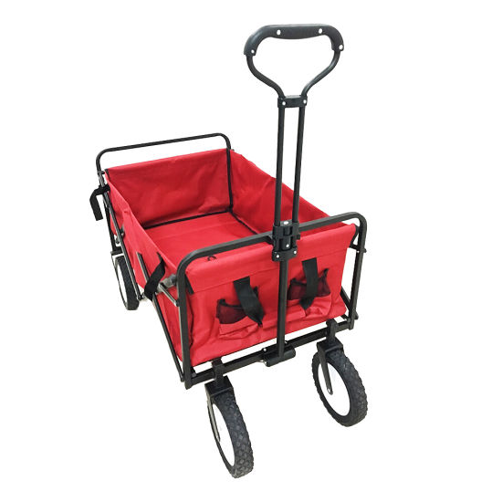 Portable Garden Tool Cart with Roof Folding Beach Trolley Cart