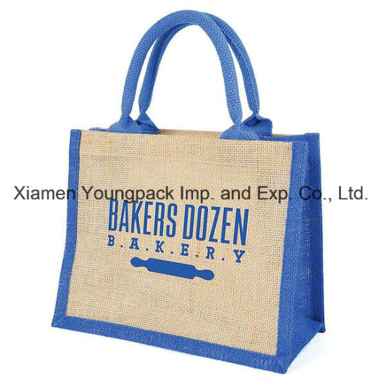 Fashion Promotional Gifts Custom Printed Burlap Handbag Hessian Wine Bag Conference Bag Reusable Grocery Shopper Carrier Bag Shopping Carry Tote Jute Bags