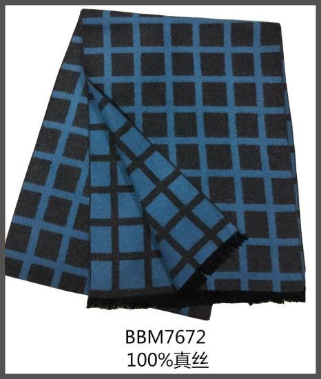 2017 New Winter Checked Jacquard Men Silk Scarves