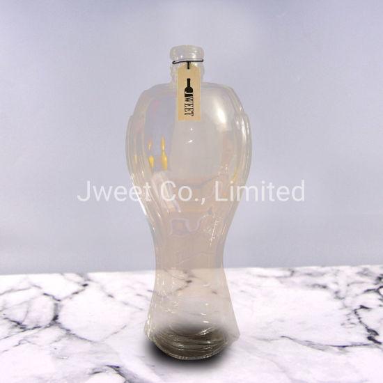 Semitransparent Painting Orange Color High Irregular Shape Liquor Glass Bottle