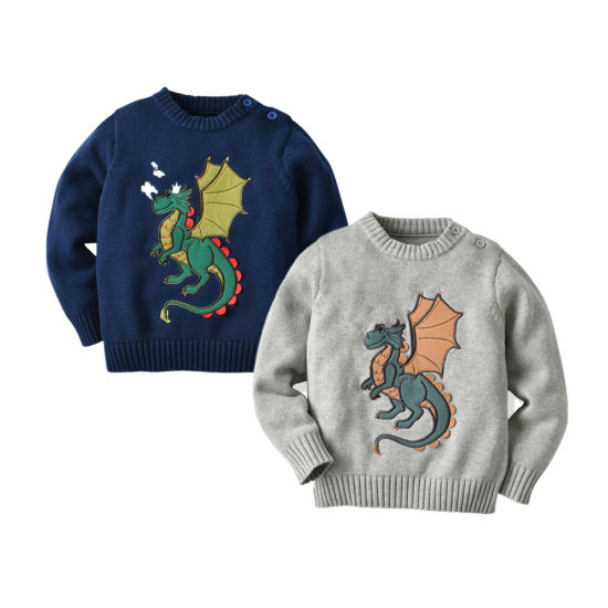 Boy Dinosaur Series Dinosaur Pattern Pullover Cotton Sweater