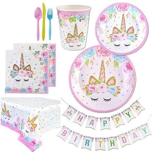 Unicorn Theme Party Supplies Set Unicorn Party Decorations and Disposable Party Tableware