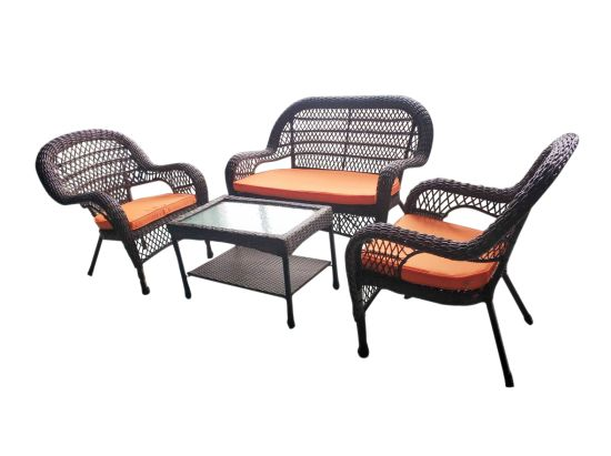 Outdoor Dining Furniture Garden Rattan Metal Glass Table and Chairs Sets