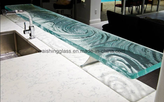 High Quality Kitchen Tempered Colored Glass Countertops