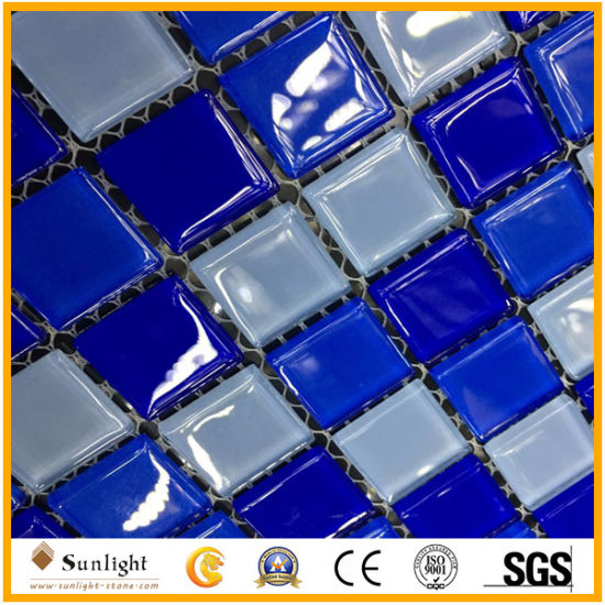 Swimming Pool Blue/White Mosaic Glass Mosaic Wall Tile pictures & photos