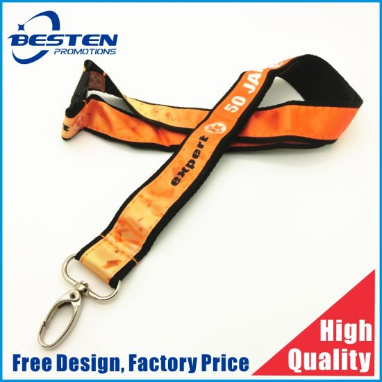 Personalized Custom Double Layer Satin Polyester Lanyard with Safety Breakaway Buckles