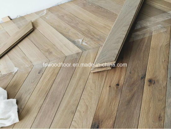 Oiled Herringbone Parquet American Oak Wood Flooring Chevron Flooring pictures & photos