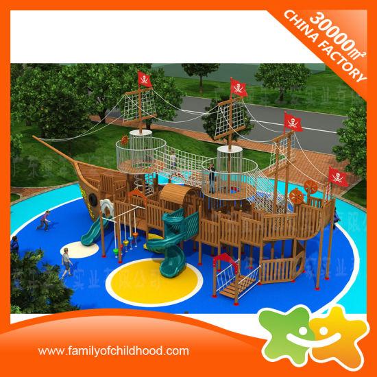 China Mutifunctional Wooden Pirate Ship Outdoor Playground Equipment