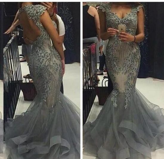 Mermaid Silver Party Prom Gowns Backless Evening Dresses B2018