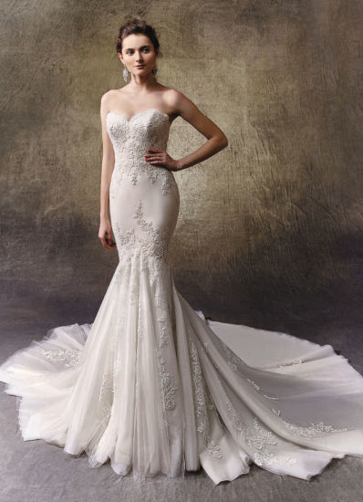 Two Lovely Looks in One Full-Length Mermaid Wedding Dress with an Outer Dress of Embroidered Lace and Tulle Features a Soft Strapless Sweetheart Neckline pictures & photos