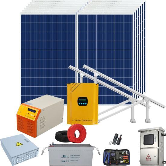 Home Solar Panel Product Kit PV Energy Mounting Supply off Grid Hybrid Inverter Solar Power System 5kw