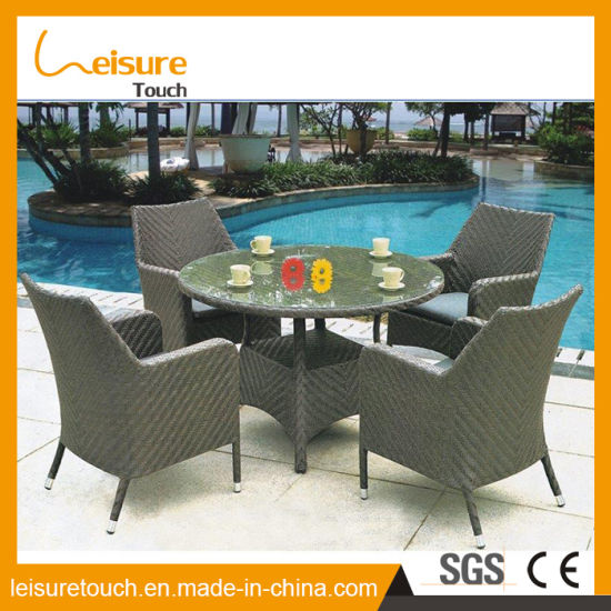 China Affordable High Quality Patio Brown Rattan Table Sets Outdoor