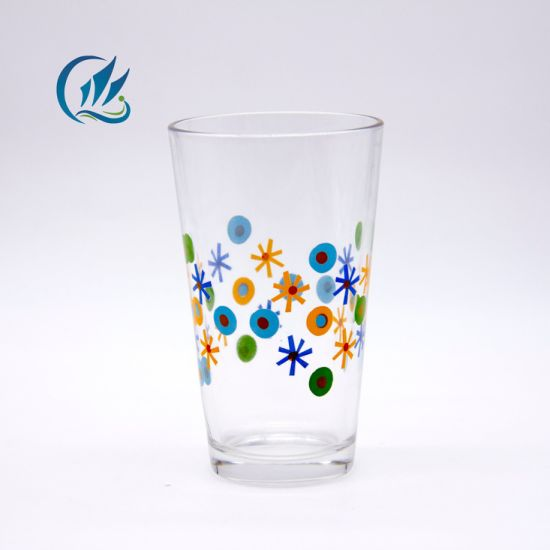 400ml Glass Water Drinking Tumbler Cup with Customized Decorating Firing