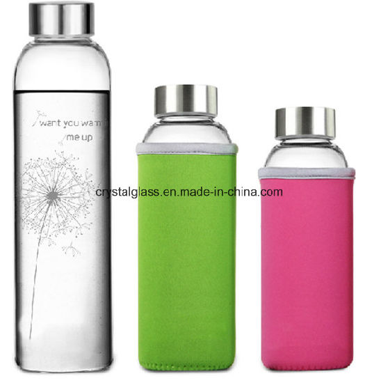 Simple Style Water Bottle Adveristing Glassware with Anti-Scalding and Stainless Steel Cap 300/420/500ml pictures & photos