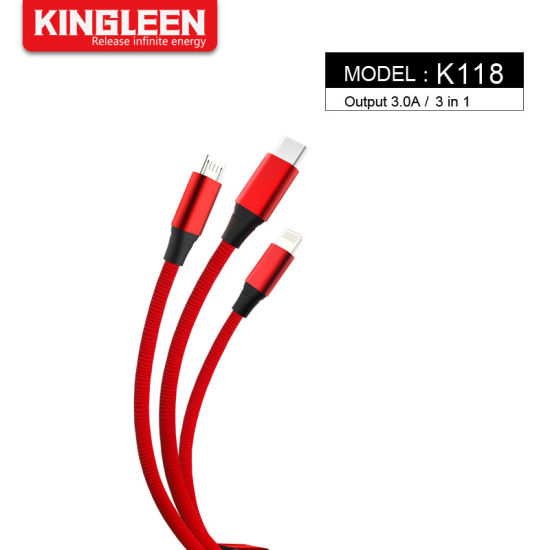 New Product 3.0A Output 3 in 1 Cable USB Data Cable