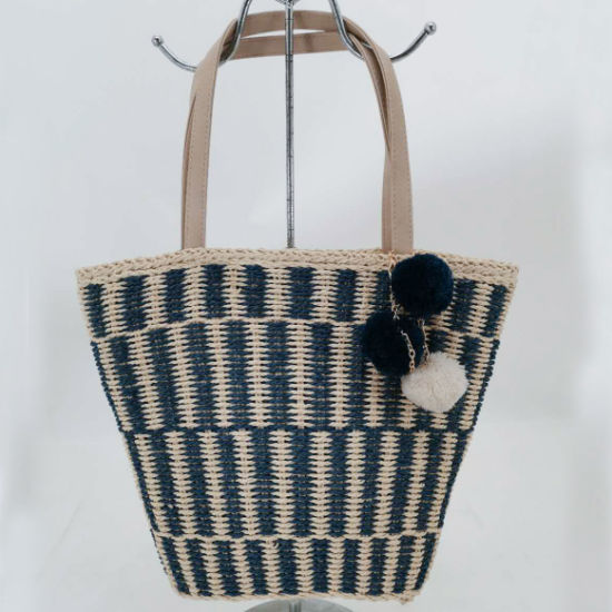 Handwoven Paper Straw Stripe Tote Beach Bag with Pompoms