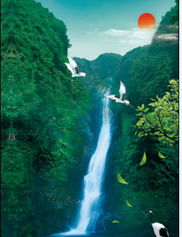 3D Lenticular Printing Poster with Waterfall and Red Sun pictures & photos