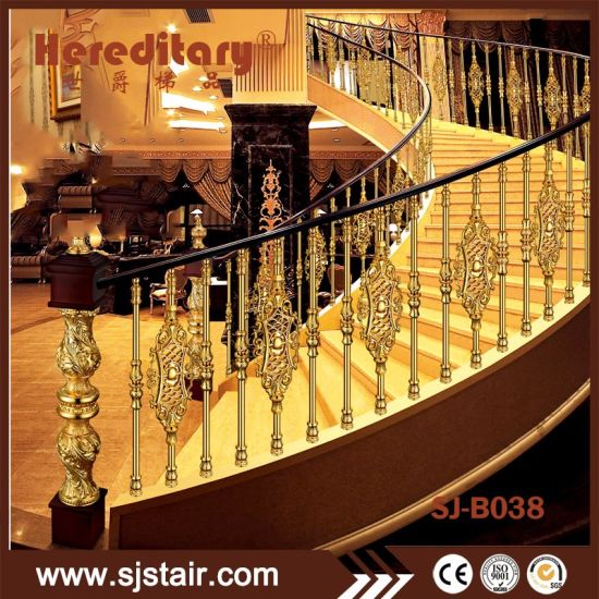 Golden Color Cast Aluminum Railing For Interior Luxury Staircase Design