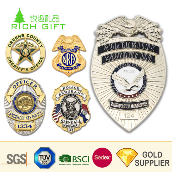 Factory Supply High Quality Custom Metal Enamel Shield Shaped Pakistan  Forces Security Military Police Pin Badges