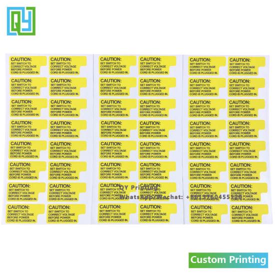 China Custom Vinyl Waterproof Durable Sticker Of Instruction Label