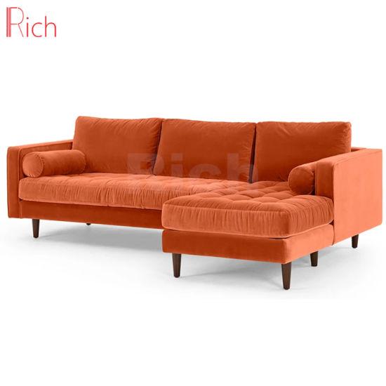 Wholesale Modern Home Chinese Furniture Orange Velvet Sectional Corner Sofa Couch Set for Home Living Room