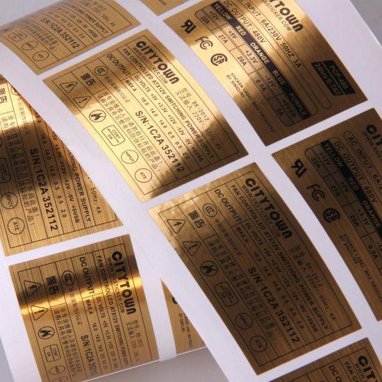 Gold Foil Waterproof Roll Custom Aluminum Self Adhesive Electronics Label  Stickers