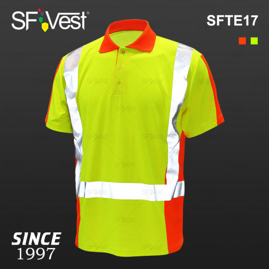 Wholesale High Visibility Short Sleeve Polycotton Drop Needle Clothing with Heat Transfer Reflective Polo Shirt