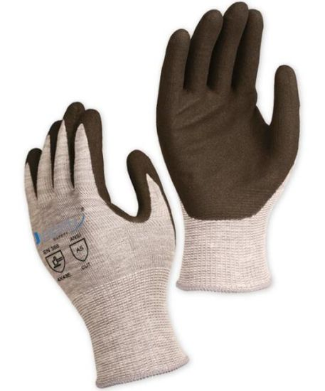 13 Gauge Grey ANSI Cut Level A5/ ISO 13997 Cut Level E Industrial Glove, with Black Sandy Nitrile Coating on Palm